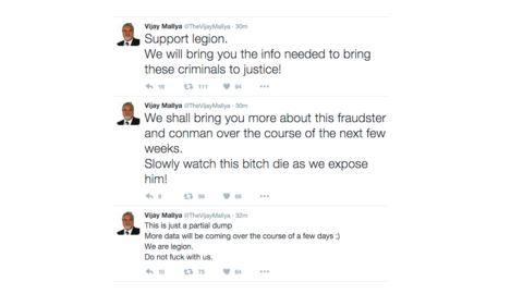 Legion hacks Vijay Mallya's Twitter,Vijay Mallya's Twitter hacked